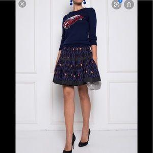 Kenzo x H&M silk pleated mid length skirt. Size 8